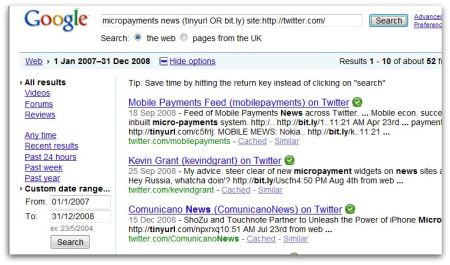 Search for Tweets on micropayments in news in Google